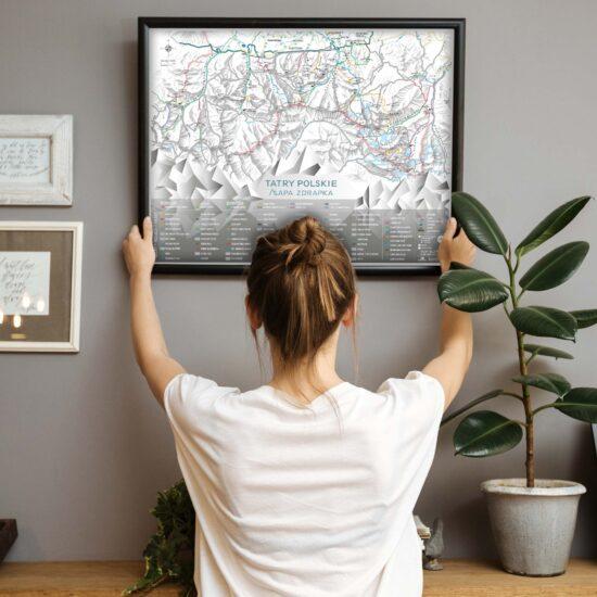 Mapa Zdrapka Tatr na ścianę